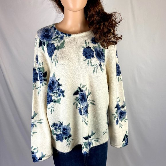 Knox Rose Cream Floral Sweater Women Size XL